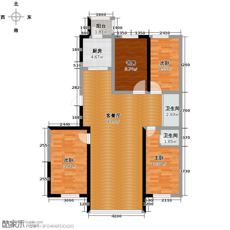 红晟陶然庭苑140.04㎡9号楼D1户型4室2厅2卫