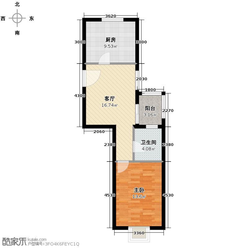 上上城青年社区二期64.44㎡二期第一组团33#N-3户型1室1厅1卫1厨