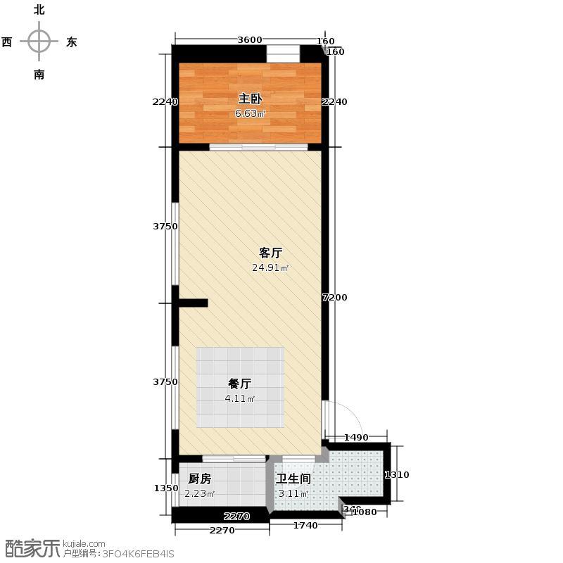 中金名筑42.01㎡户型1室1厅1卫1厨