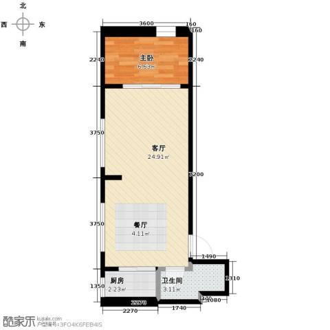 中金名筑1室1厅1卫1厨53.00㎡户型图
