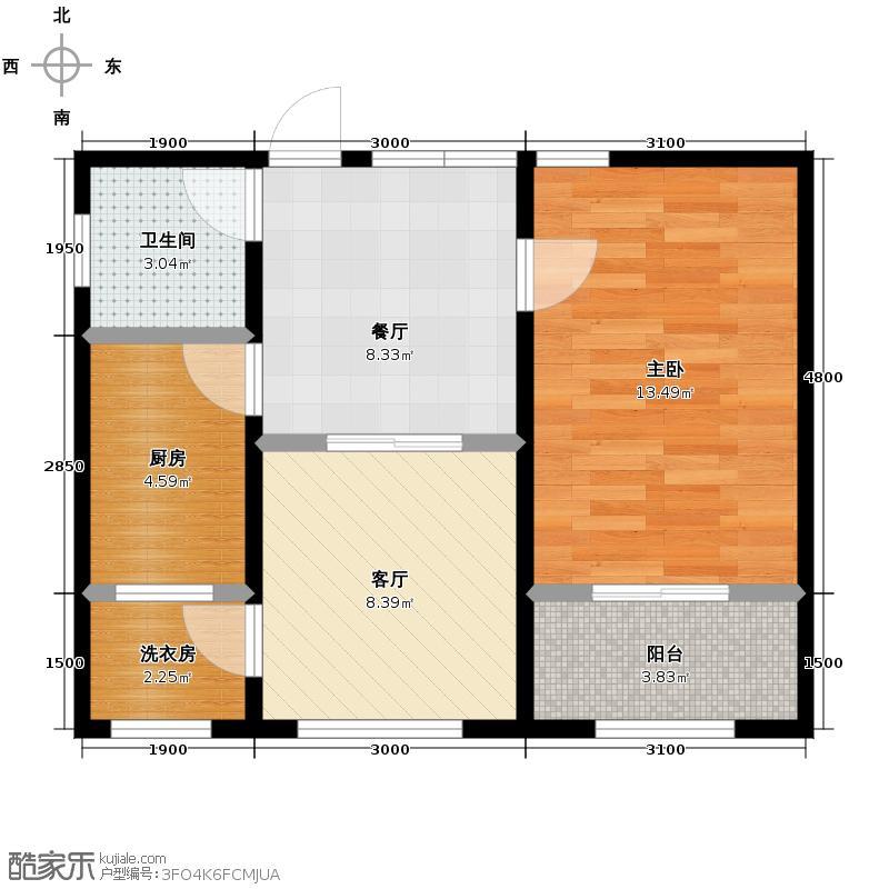 天伦中央广场60.83㎡A户型2室1厅1卫