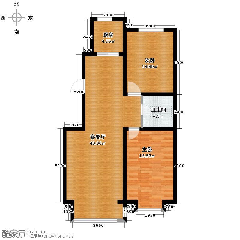 好景山庄110.34㎡四期30、31、32、33号楼户型2室1厅1卫