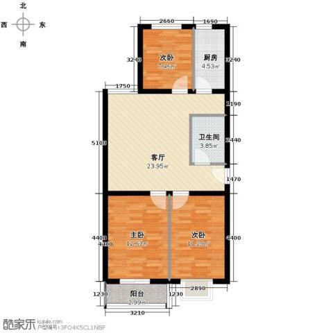 枫林逸景3室1厅1卫1厨95.00㎡户型图