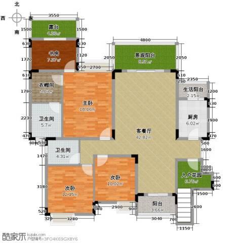 中铁山水一舍4室1厅2卫1厨136.89㎡户型图
