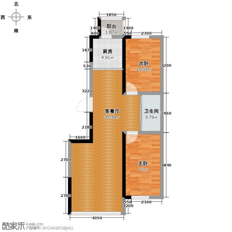 红晟陶然庭苑103.86㎡9号楼B2户型2室2厅1卫