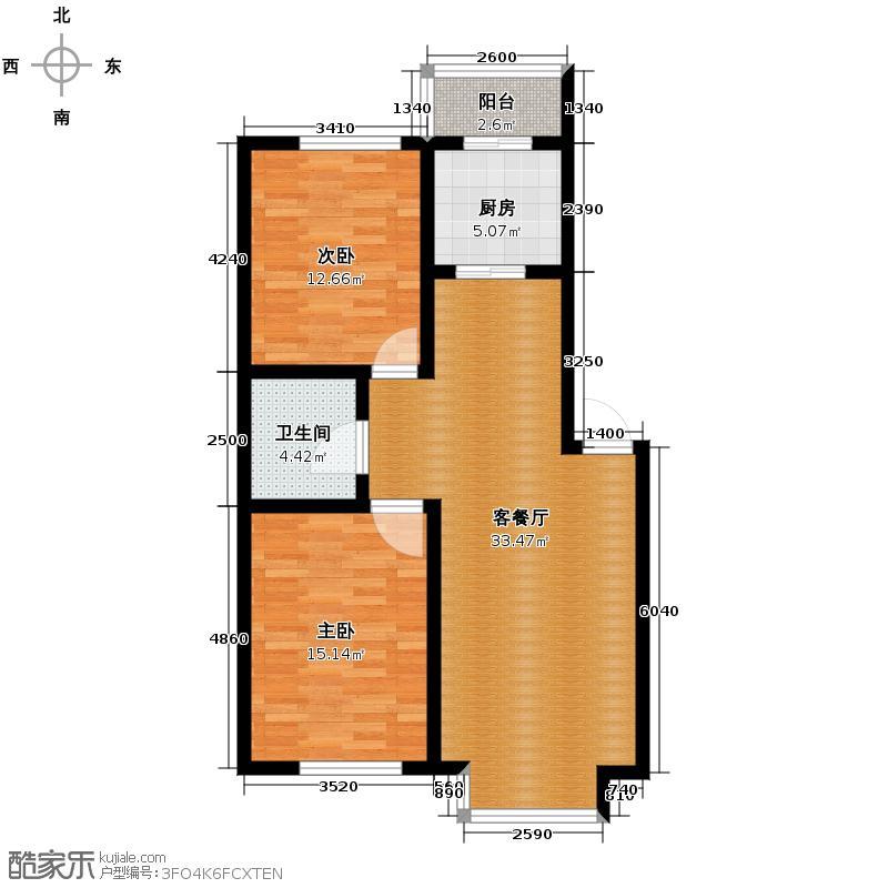 自由花园92.71㎡i户型2室1厅1卫1厨