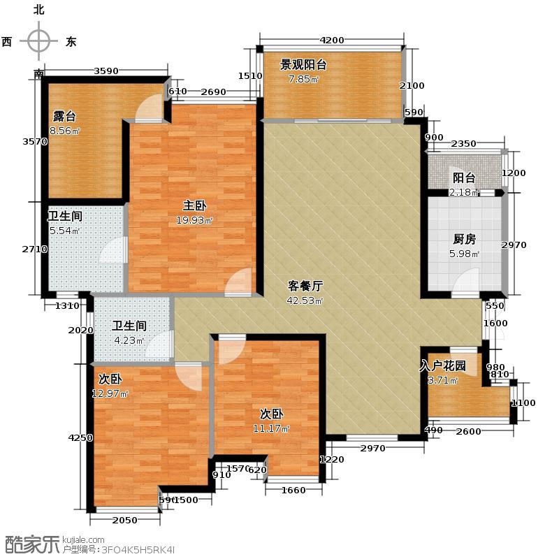 中铁山水一舍118.00㎡A层户型3室1厅2卫1厨
