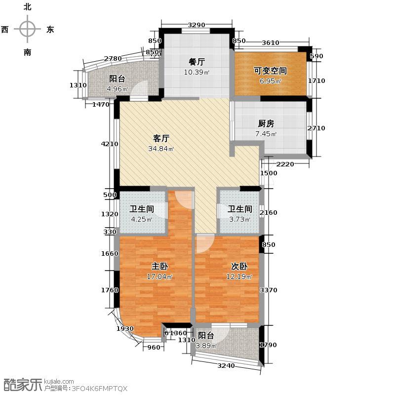 昆仑天籁119.00㎡A21、10偶数层与6奇数层户型3室2厅2卫