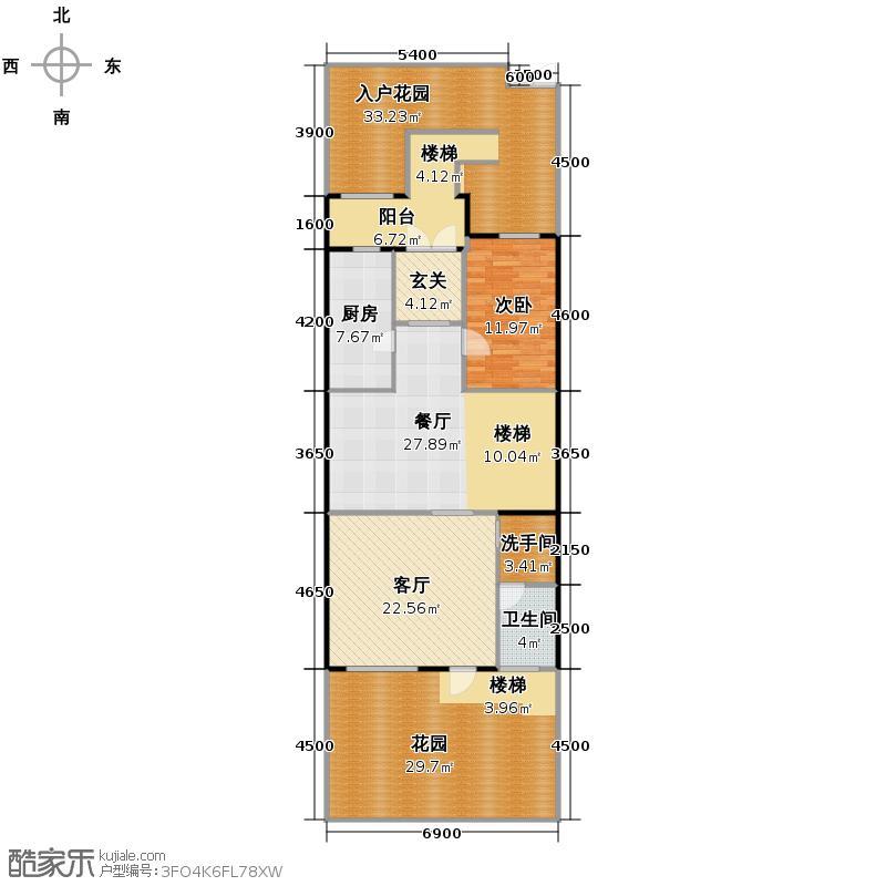大运河孔雀城154.35㎡台地产品B一层户型10室