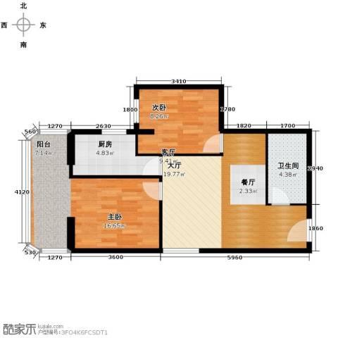黄金SOHO2室0厅1卫1厨72.00㎡户型图