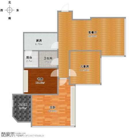 湖畔天下3室1厅2卫1厨121.00㎡户型图
