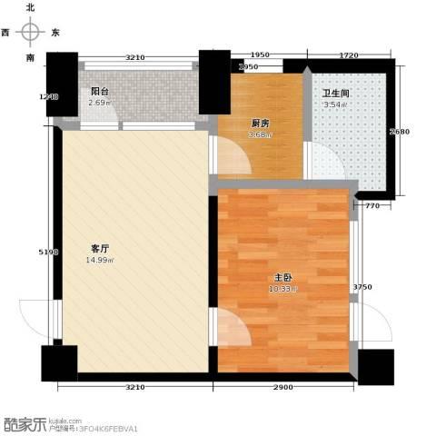 中金名筑1室1厅1卫1厨52.00㎡户型图