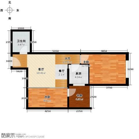 黄金SOHO3室0厅1卫1厨69.00㎡户型图