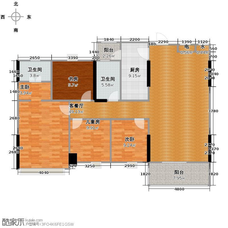 世博嘉园142.61㎡六座2-23层02户型4室2厅2卫