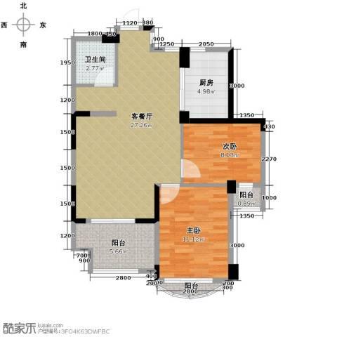 泊林公寓2室1厅1卫1厨88.00㎡户型图