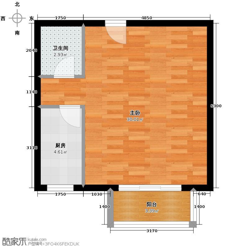 上上城青年社区二期55.62㎡二期第二组团18号楼P-2一居室户型1室1卫1厨