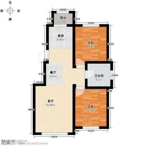 英伦小镇2室2厅1卫0厨90.00㎡户型图