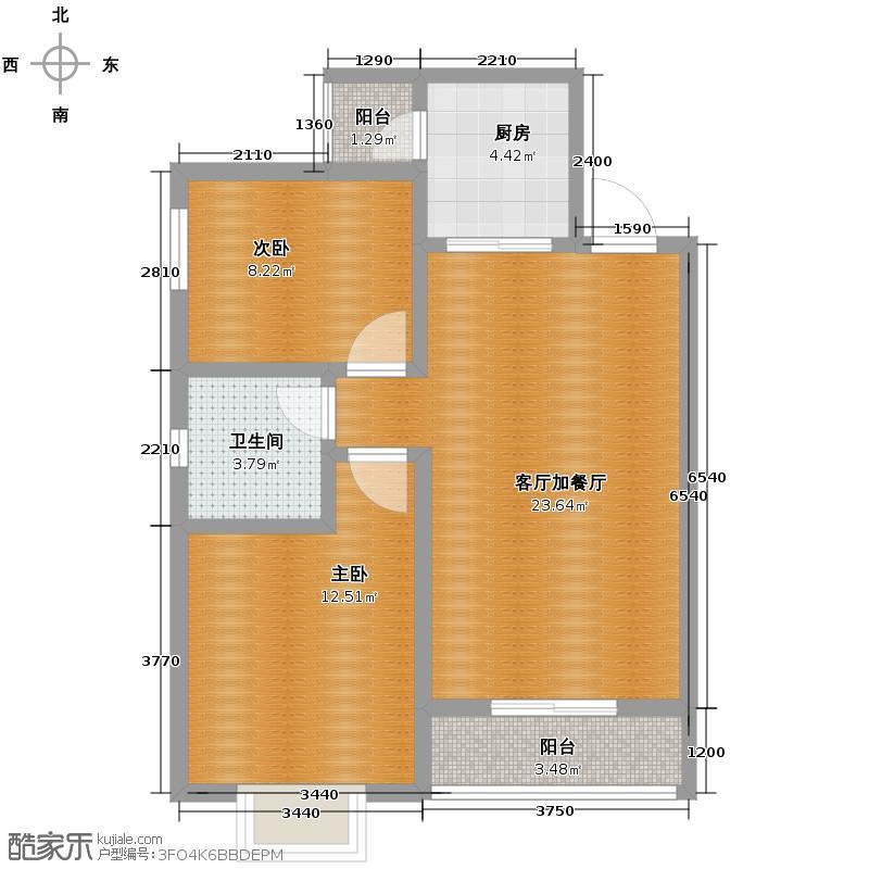 新大院86.02㎡4号楼A户型2室2厅1卫