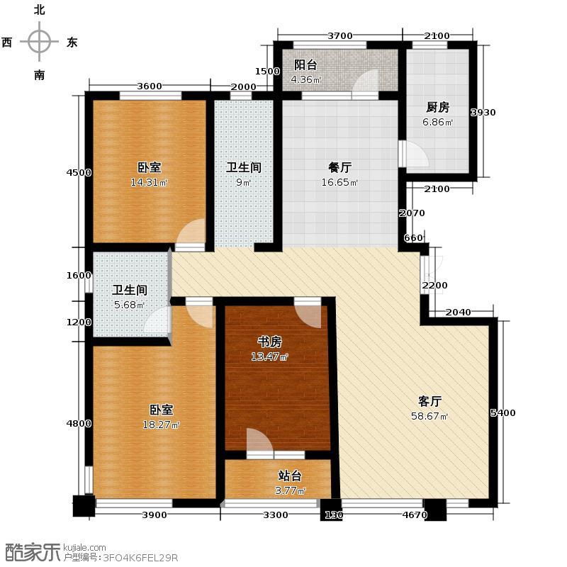 绿地新里中央公馆163.40㎡A2栋f户型1室1厅1卫1厨