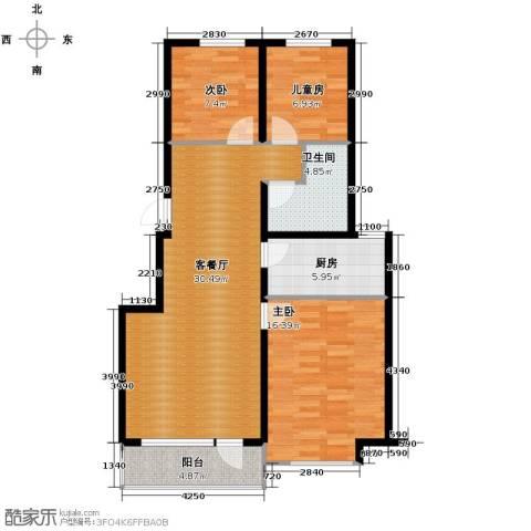 中信城3室2厅1卫0厨98.00㎡户型图