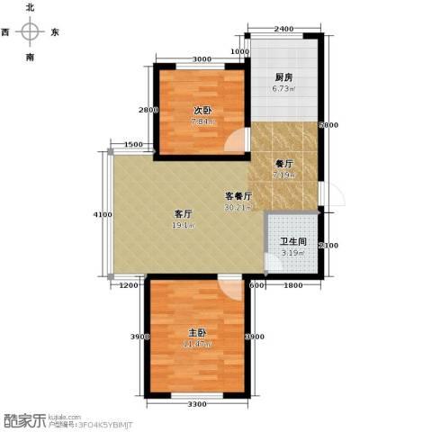 博众新城二期2室1厅1卫0厨68.00㎡户型图