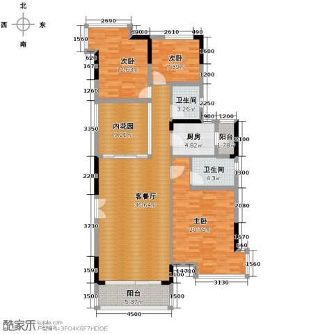 长城世家3室1厅2卫1厨151.00㎡户型图
