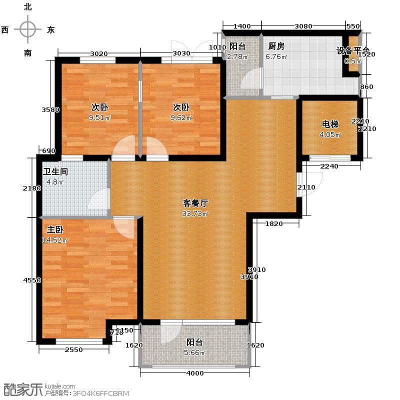 中信城108.00㎡枫丹白露三期10、18、25、35、38#楼户型3室2厅1卫