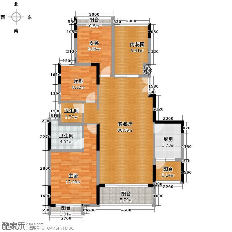 长城世家二期122.90㎡28#01单位户型3室1厅2卫1厨