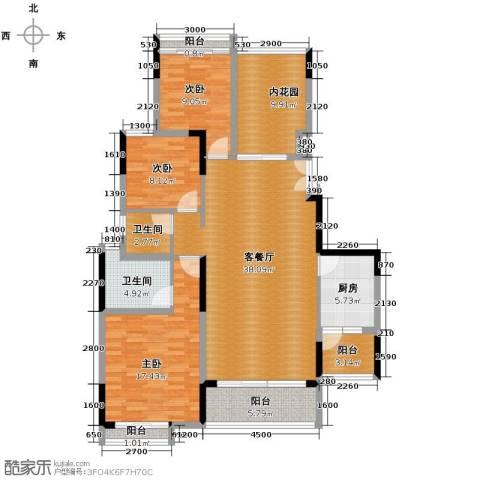 长城世家3室1厅2卫1厨154.00㎡户型图