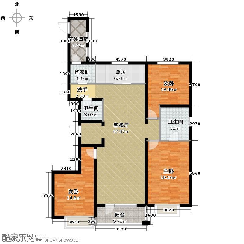 万科城166.00㎡f户型3室2厅2卫
