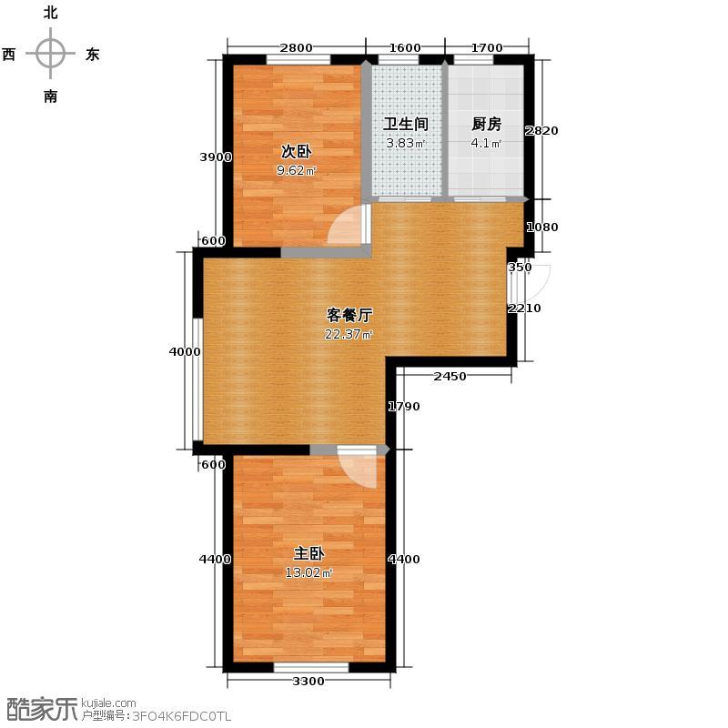 红晟陶然庭苑76.17㎡22、23、24号楼B1-2户型2室2厅1卫