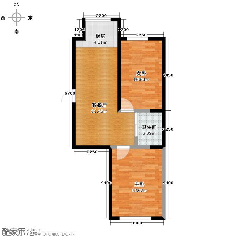 红晟陶然庭苑69.39㎡22、23、24号楼B1-1户型2室2厅1卫