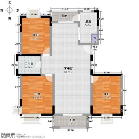 雨山美地3室1厅1卫1厨122.00㎡户型图