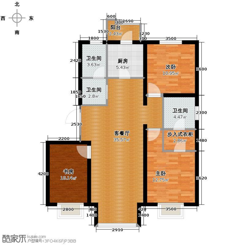 4号线孔雀大卫城126.00㎡F2户型3室1厅3卫1厨