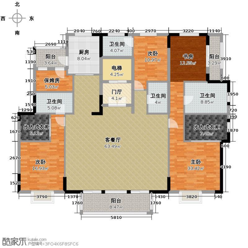 华润橡树湾230.00㎡大平层PH-3户型5室2厅5卫