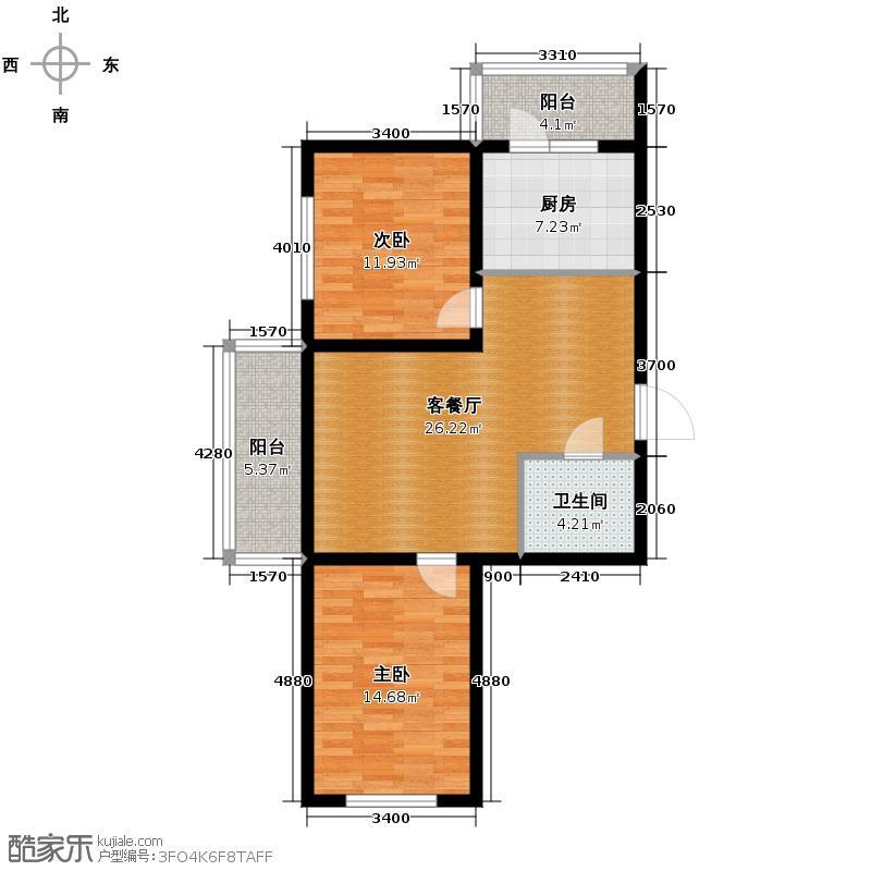 盛泽国际广场84.26㎡5#7#户型2室1厅1卫
