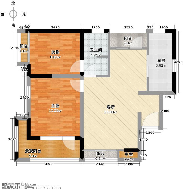麓山国际社区别墅88.00㎡H型户型2室2厅1卫