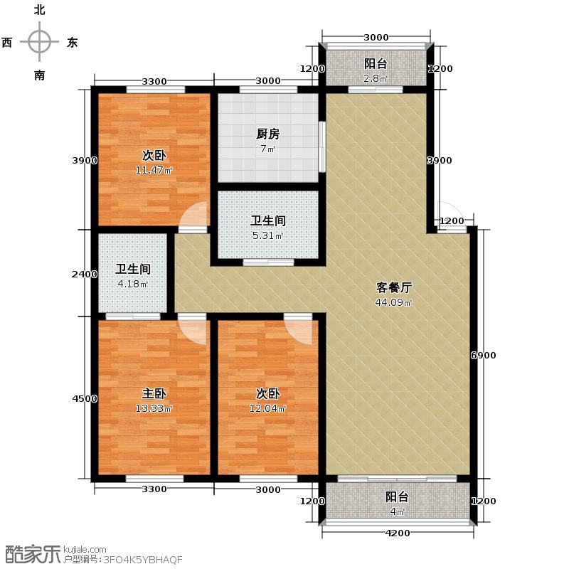 博众新城二期133.00㎡G户型3室1厅2卫1厨