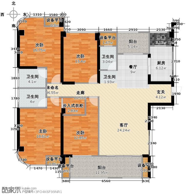 融信白宫170.15㎡A1#楼E1单元户型4室2厅3卫