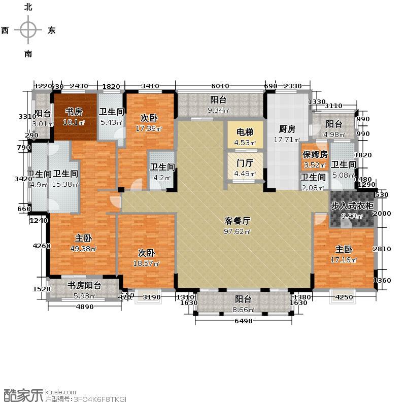 华润橡树湾302.61㎡大平层PH-1户型6室2厅5卫
