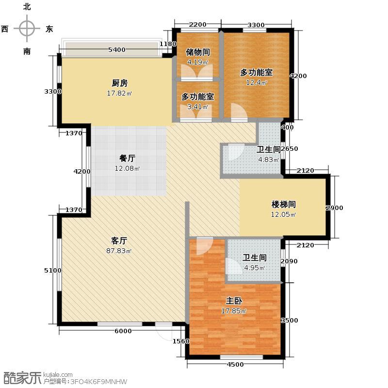 远洋戛纳小镇85.00㎡独体一层户型1室2厅2卫