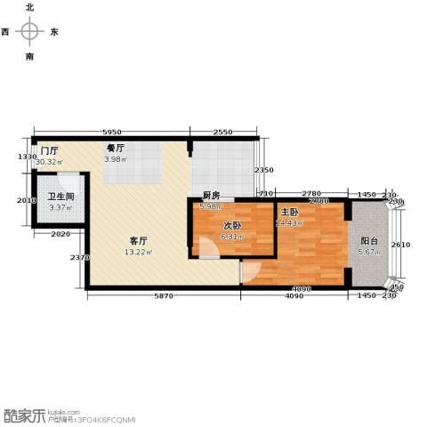 黄金SOHO2室0厅1卫0厨69.00㎡户型图
