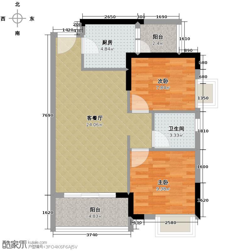 名汇嘉园77.00㎡2座03单元户型2室1厅1卫1厨