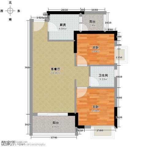 名汇嘉园2室1厅1卫1厨77.00㎡户型图