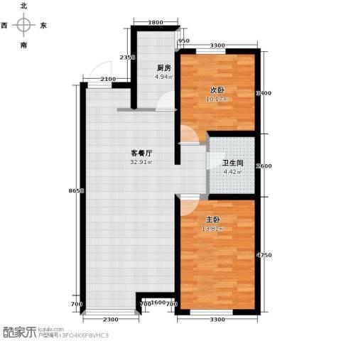 万科城2室2厅1卫0厨90.00㎡户型图