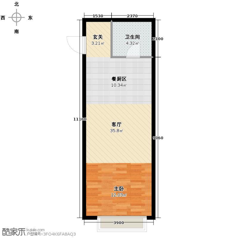 华荣泰时代COSMO60.00㎡6#05户型1室2厅1卫