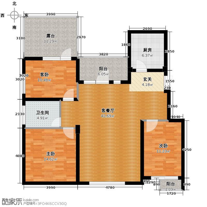 江户雅致113.56㎡B-6户型3室2厅1卫