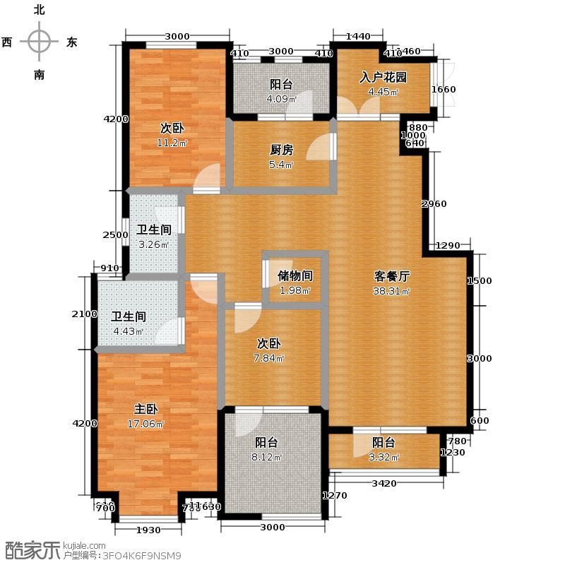 远洋戛纳小镇126.00㎡b2户型3室2厅2卫