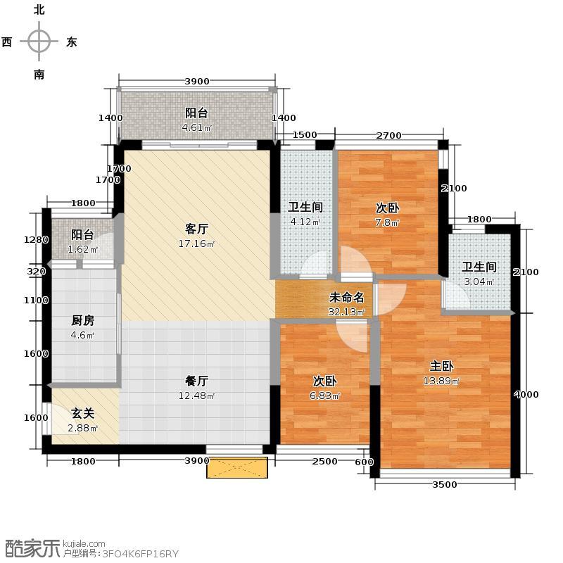 海湾城90.00㎡2座单位户型3室2厅2卫