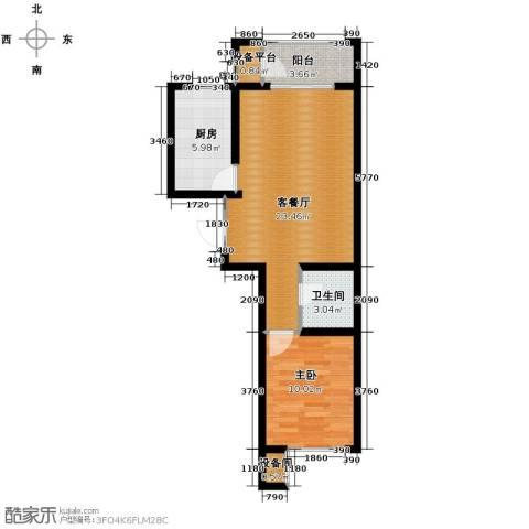 蓝山世家1室2厅1卫0厨66.00㎡户型图